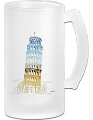 Leaning Tower Of Pisa Frosted Glass Pub Big Beer Stein - 500ML