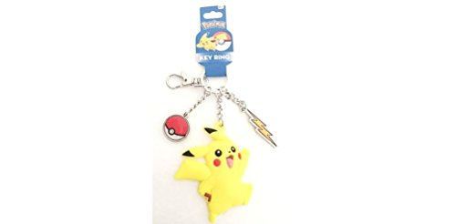 Keychain Metal Charm (Pokemon Pikachu Rubber and Pokeball Thunder Metal Charm Keychain)