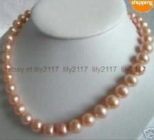 New 9-10mm Pink south sea Cultured Akoya Pearl Necklace 18