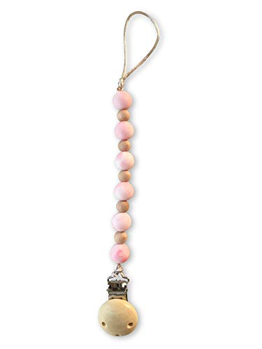 Pacifier Clip by Lucky Love  Universal Pacifier Holder Leash for Boys and Girls Handmade in USA  3-in-1 Teething Toy or Soothie (Pink Marble Pacifier Clip)