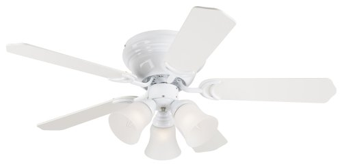 Westinghouse Lighting 7850800 Contempra Trio Three-Light 42-Inch Five-Blade Ceiling Fan, White with Frosted Glass Shades