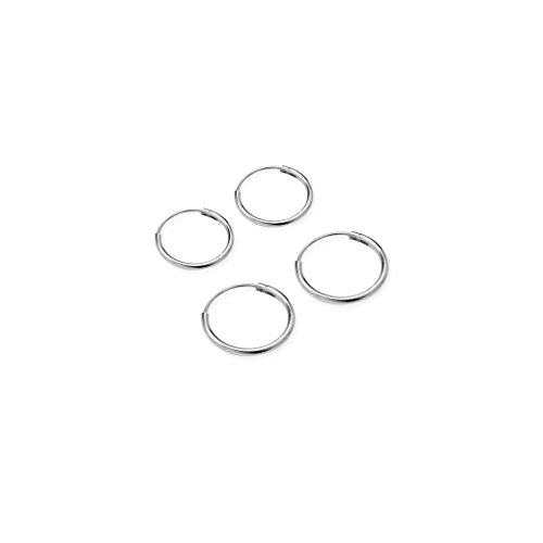 Price comparison product image River Island Jewelry - 925 Sterling Silver (2 Pairs) Endless Earrings for Ears Nose Lips - Size 10mm & 12mm