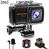 Apexcam Pro 4K WiFi Action Camera,20MP EIS Sony Sensor Waterproof 40M Sports Camera Ultra HD Underwater External Microphone 170°Wide-Angle 2.0''LCD 2.4G Remote 2 Batteries and Accessories kit Apexcam