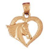 CleverEve 14K Yellow Gold Mustang in Heart Pendant 2.1 Grams