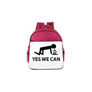 WLF Girl's And Boy's Children Kid's Backpack Pre School Bags Package Fashion Yes We Can Backpacks Pink