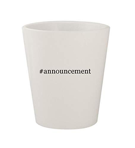 #announcement - Ceramic White Hashtag 1.5oz Shot Glass -