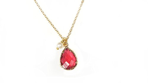 Red Crystal Necklace, Tiny White Bead,Gold Plated Charm Pendant 18