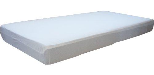 Matratzenschutz gegen Nässe, 90 x 200 cm, wasserdicht und atmungsaktiv, von Morgenstern, perfekt bei Inkontinenz,, Spannbetttuch mit Oberseite aus 100% Baumwolle. Die Unterseite ist auf der Liegefläche mit atmungsaktivem PU beschichtet.