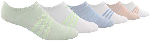 adidas Youth Kids-Girl's Superlite No Show Socks (6 Pair), Glow Green - White Space Dye/Silver Lurex/White/Glow, Medium, (Shoe Size 13C-4Y) (Silver No Show Socks)