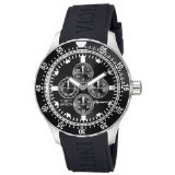 Invicta Signature II GMT Black Dial Stainless Steel Black Rubber Mens Watch 7401 - Invicta Bezel