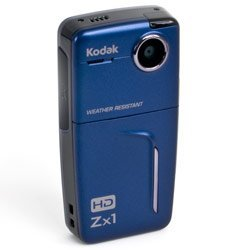 Kodak Blue Zx1 Pocket Video Camera Bundle w/ 2GB SD Card, Bag and Charger