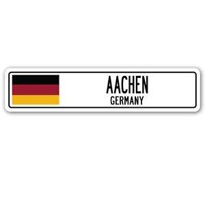 "3 Pack: AACHEN, GERMANY Street Sign Sticker 3"" German flag city country road - Sticker - Construction Toolbox, Hardhat, Lunchbox, Helmet, Mechanic, Luggage, Skateboard, Surfboard, Bumper"