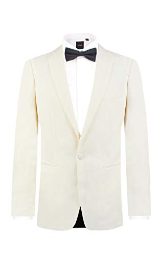 Dobell Mens White Tuxedo Dinner Jacket Regular Fit Notch Lapel-44R