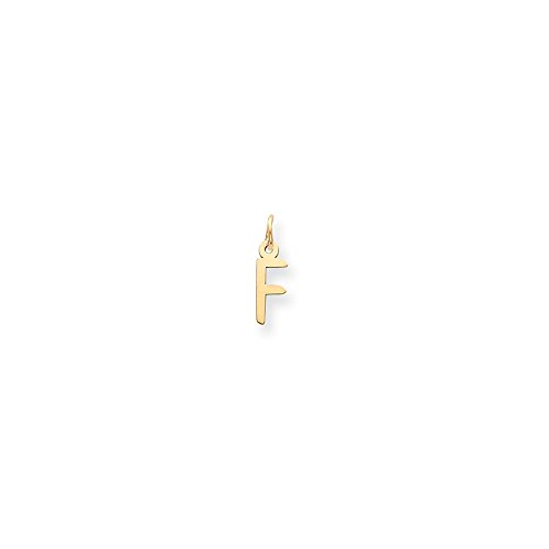 14k Yellow Gold Polished Laser Cut Small Slanted Block Initial F Charm (14k Polished Block)