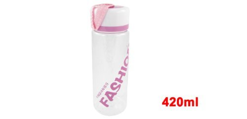 Amazon.com : eDealMax Forma cilíndrica de plástico Botella de agua de la Taza 420ml rosa claro Blanco : Sports & Outdoors