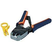 Monoprice Dual-Modular Plug Crimps, Strips and Cuts Tool with Ratchet (103351) ()