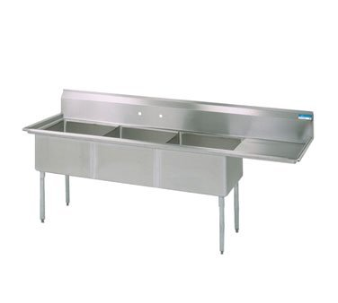 BK Resources Three Compartment Sink 62-1/2''W x 20-13/16''D, Stainless Steel