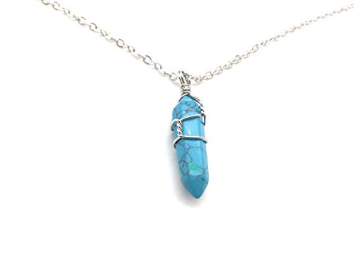 xinpeng Hexagonal Natural Quartz Stone Pendant Healing Crystal Wire Wrap Gemstone Necklace Point Bullet Shape for Women Men (Blue Turquoise) ()