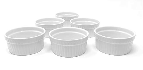 White Porcelain 6-Piece Ramekin Set, 3oz. Dishwasher, Microwave and Oven Safe!
