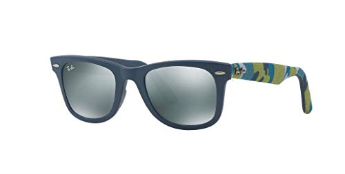 Ray-Ban RB2140 Wayfarer Sunglasses, Matte Blue/Silver Flash, 50 mm
