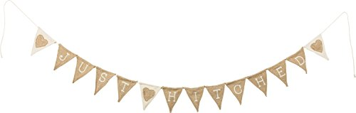 PBK Just Hitched Hearts Wedding Day Burlap Fabric Banner ()