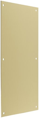 Rockwood 70F.4 Brass Standard Push Plate, Four Beveled Edges, 16'' Height x 8'' Width x 0.050'' Thick, Satin Clear Coated Finish by Rockwood