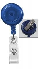 Blue Round Translucent Plastic Badge Reel - Swivel Back - Clear Vinyl Strap (100pk)