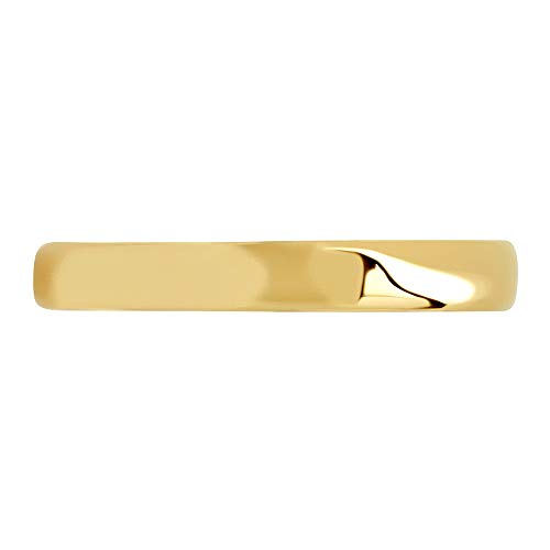 Clara Pucci 14K Yellow Gold men's and women's plain wedding bands 3mm comfort-fit light Double Accent, 5.5 ()