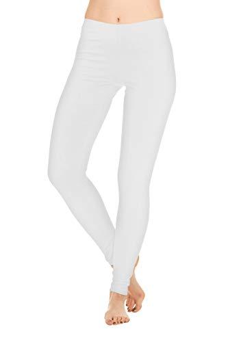 F.G.R Apparel 95% Cotton 5% Spandex Full Length White Leggings for Women (Large)