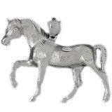 CleverEve 14K White Gold Walking Horse Pendant 9.3 Grams