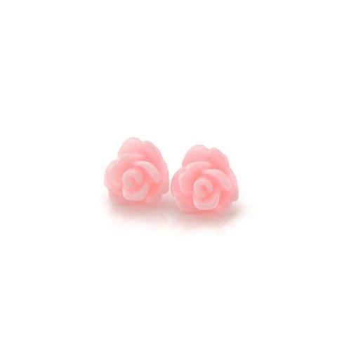 8mm Rose Plastic Post Earrings for Metal Sensitive Ears, Pale - Teen Pale