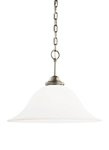 Sea Gull Lighting 65360-965 Single-Light Rialto Pendant, Etched White Alabaster Glass Shade, Antique Brushed Nickel (Alabaster Glass Single Shade)