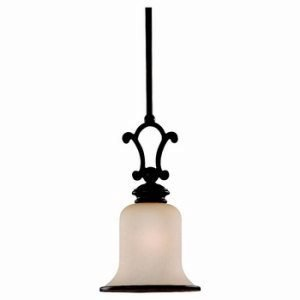 Sea Gull Lighting 61145BLE-814 ENERGY STAR Acadia Mini-Pendant, Champagne Seeded Glass Shade, Misted Bronze Finish