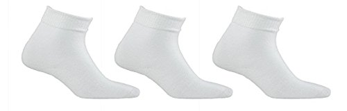 Diabetic Socks | Mens White Ankle 3 Pack | Seamless Toe | Non-Binding Top | Sock Size 10-13 | Improve Foot Health Comfort Circulation for Diabetes, Edema, Flight Travel, Swollen (Ribbed Diabetic Socks)