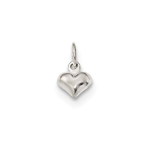 Sterling Silver Polished Puffed Heart Charm Pendant