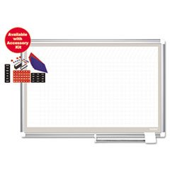** MasterVision All-Purpose Planner w/ Accessories, 1x2 Grid, 36x24, Aluminum Frame **