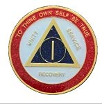 Recovery Line 7 Year AA Medallion - Alcoholics Anonymous Red, White, Blue & Gold Sobriety Chip,Token, - Coin Gold 7 24kt