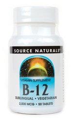 Vitamin B-12 Sublingual 2000mcg Source Naturals, Inc. 50 Lozenge (Vitamins Natural B-12 Source)
