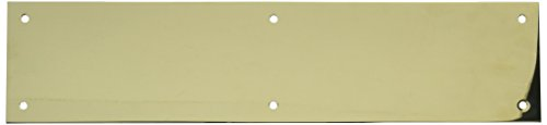 (Baldwin 2123 3-1/2 Inch x 15 Inch Solid Brass Square Edge Push Plate, Lifetime Polished Brass)