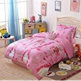 4 Piece Princess Design Pink Kids Comforter Set Bedding Ensemble Twin Size