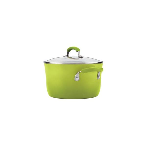 Rachael Ray Brights Nonstick Cookware Pots and Pans Set, 14 Piece, Green Gradient 4