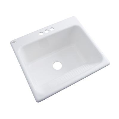 Thermocast 21300 Kensington Cast Acrylic Single Bowl Utility Sink with Three Holes, 25-Inch, White