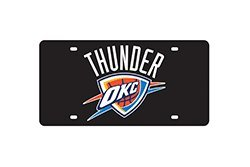 NBA Oklahoma City Thunder Laser Cut License Plate, Black