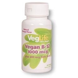 Veggie B-12 1000mcg w/ Folic Acid 400 mcg VegLife 50 Sublingual Lozenge by Veglife (Mcg 50 Lozenges)