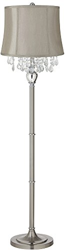 Light Gray Crystal (Crystals Gray Shade Satin Steel Floor Lamp)