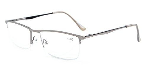 - Eyekepper Polycarbonate Lens Lightweight 180 Degrees Spring Temple Half-Rim Reading Glasses (+4.00, R1614-Gunmetal)