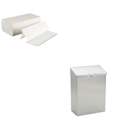 KITBWK6200HOSND1E - Value Kit - Hospeco ND-1E Wall Mount Convertible Sanitary Napkin Receptacle, 8wx4dx11h, Stainless Steel (HOSND1E) and Boardwalk 6200 Multi-Fold Paper Towels, Bleached (BWK6200)
