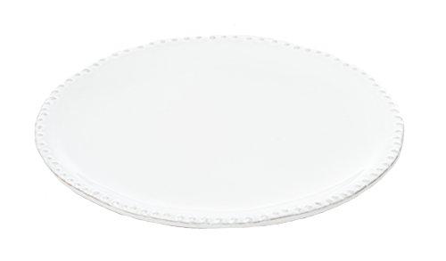 Abigails Charlot Ceramic Salad Plate with Beaded Rim (Set of 4), White, 8.5