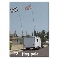 SafeGlo 22' Telescoping Flag Pole Kit w/ Ladder Mount For Motorhome or Trailer With USA Flag