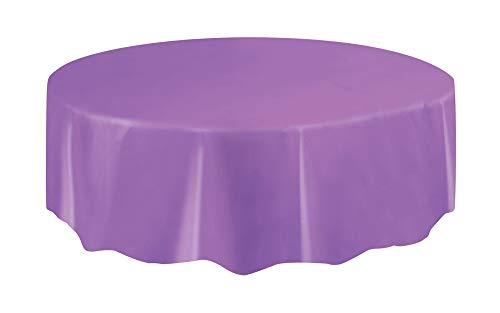 Round Purple Plastic Tablecloth, 84